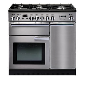 Rangemaster Professional Plus Dual Fuel Range Cooker Stainless Steel with Chrome Trim 90cm