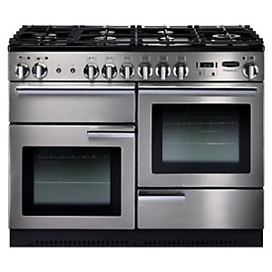 Rangemaster Professional Plus Natural Gas Range Cooker 110 cm Stainless Steel with Chrome Trim