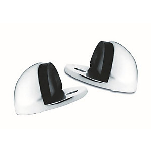 4Trade Door Stop Oval Pack of 2 Satin Anodised Aluminium