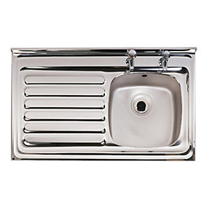 Astracast Emerald 2 Tap Hole 1 Bowl Stainless Steel Layon Sink Left Hand Drainer
