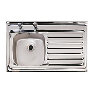 Astracast Emerald 2 Tap Hole 1 Bowl Stainless Steel Layon Sink Right Hand Drainer