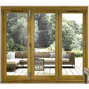 External 54mm Folding Doors Prefinished Solid Oak 16 Ft (4.9 M)