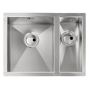 Abode Matrix R0 1.5 Bowl Undermount Stainless Steel Right hand Drainer Kitchen Sink