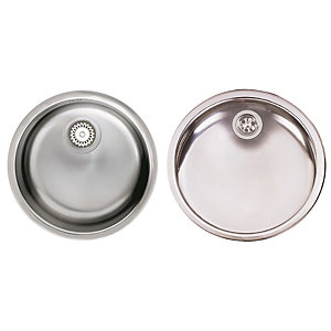 Astracast Onyx Stainless Steel Round Bowl Sink and Drainer Set