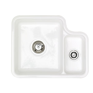 Astracast Lincoln 1.5 Bowl Ceramic White Undermount Sink