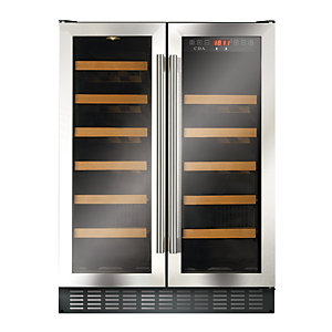 CDA 600mm Double Door Freestanding Under Counter Wine Cooler Stainless Steel FWC624SS